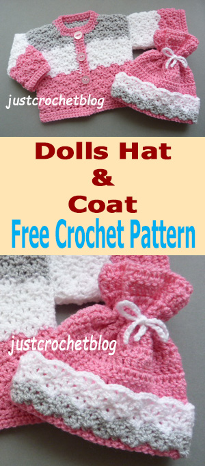 crochet dolls coat-hat
