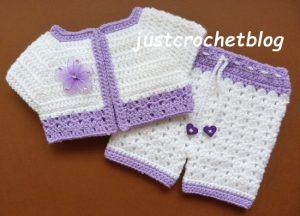 crochet short jacket-pants