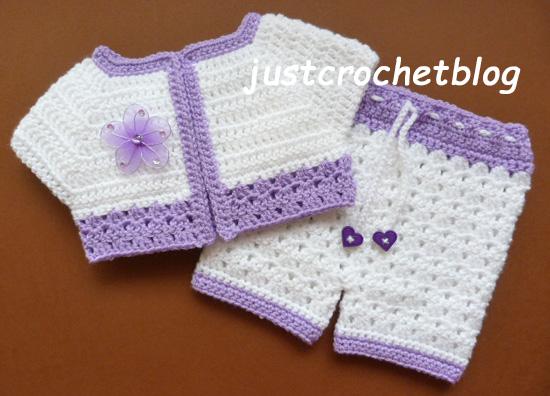 crochet short jacket-pants