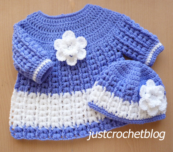 crochet angel dress and pull on hat