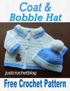 crochet coat and bobble hat