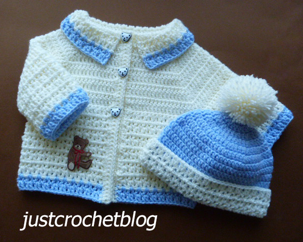 crochet coat and bobble hat