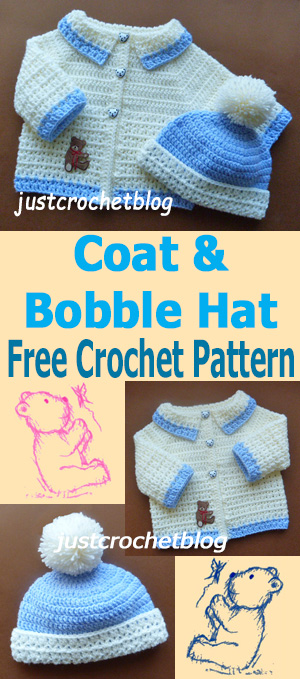 crochet coat-bobble hat
