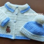 crochet coat- bobble hat