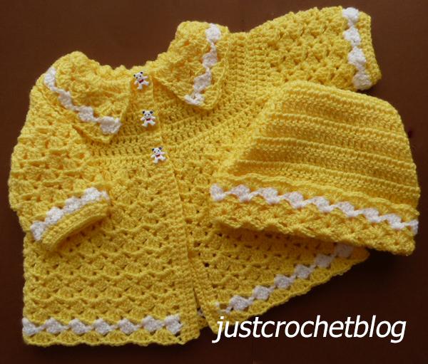 crochet coat and ski hat