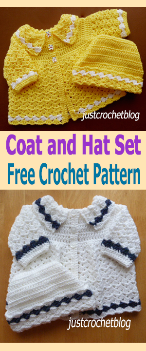 crochet coat and ski hat