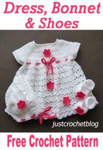 crochet dress-bonnet-shoes