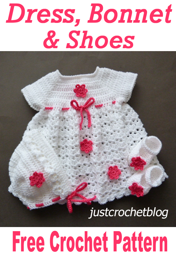 crochet dress-bonnet-shoes