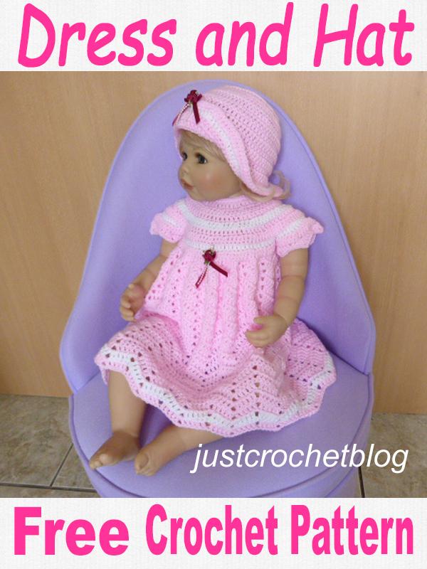 Baby Crochet Dress-Hat